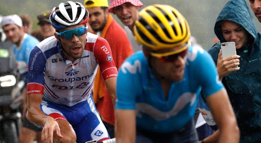 """Pinot (à esquerda) e Landa (à direita) foram dois dos grandes protagonistas da 15.ª etapa do """"Tour"""""""