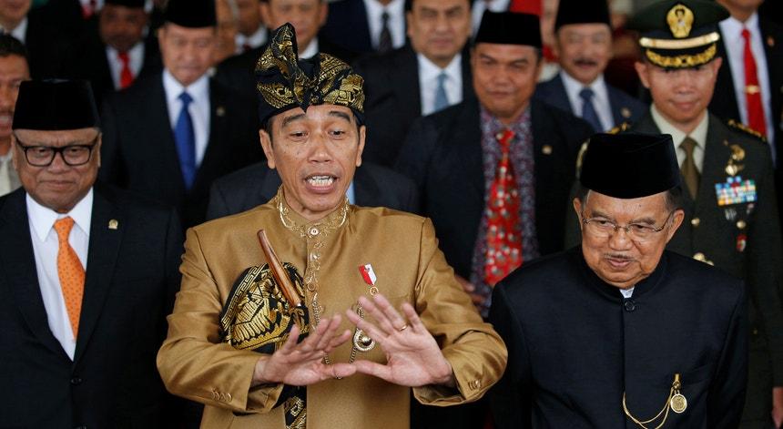 O presidente indonésio, Joko Widodo, durante uma sessão comemorativa no Parlamento