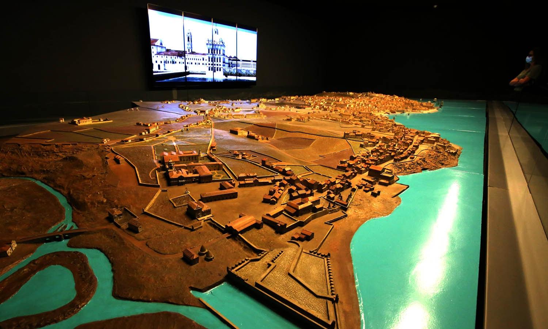Maqueta de Lisboa anterior ao Terramoto de 1755. Com escala 1:500, tem 10,26 metros de comprimento e 4,06 metros de largura