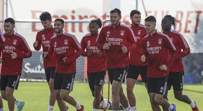 A equipa do Benfica voltou aos treinos já com alguns internacionais
