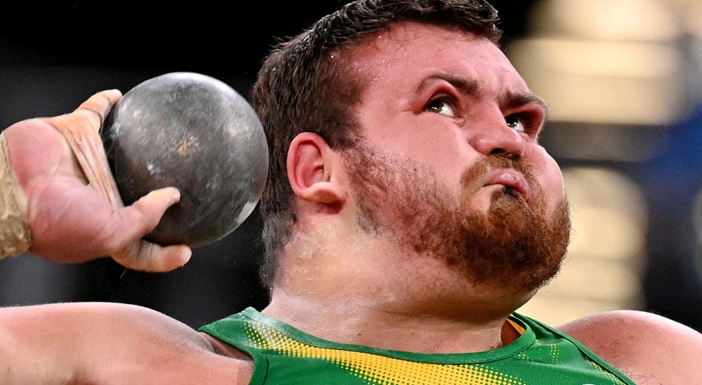 Sul-africano, Kyle Blignaut, na prova de arremesso de peso.   Foto: Dylan Martinez - Reuters