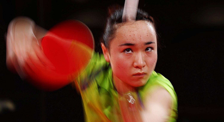Durante a semi-final de Ténis de mesa. Mima Ito do Japão contra Doo Hoi Kem de Hong Kong.   Foto: Thomas Peter - Reuters