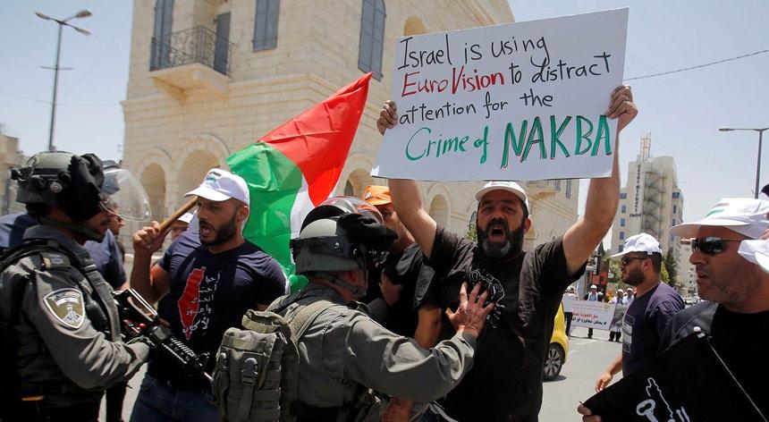 """Manifestação contra o branqueamento da """"Nakba"""" pelo Festival da Eurovisão"""