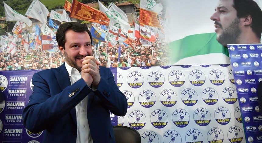 Matteo Salvini, líder do Liga, partido conotado com a extrema-direita, que foi uma das forças mais votadas no domingo.