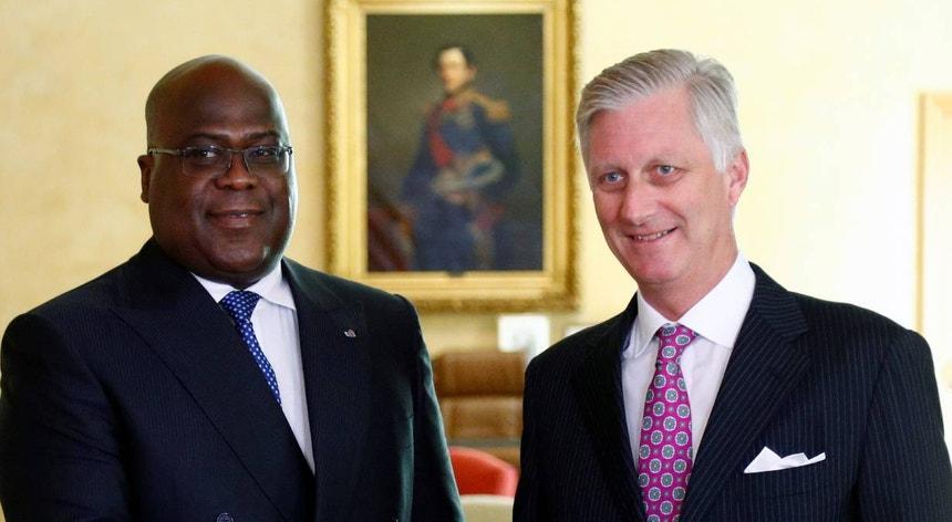 Presidente da RDC, Félix Tshisekedi (à esquerda) e o rei Filipe da Bélgica (à direita)