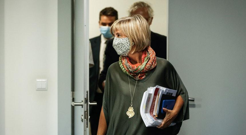 A ministra da Saude, Marta Temido, à entrada para a conferência de imprensa de atualização de dados da pandemia em Portugal