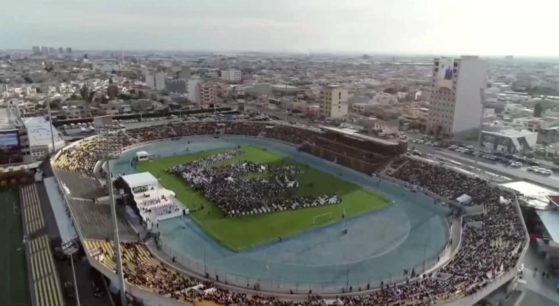 Curdistão. Estadio Franso Hariri em Erbil encheu para receber o Papa | Iraqiya TV - Reuters