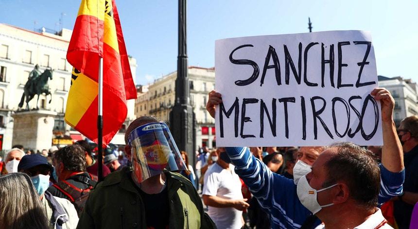 Protestos nas ruas de Madrid