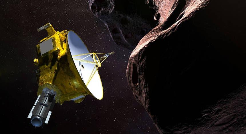 Criação artística da passagem da New Horizons pelo asteróide Ultima Thule