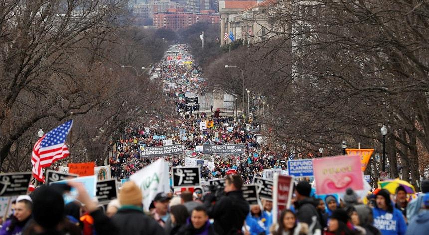 Um aspecto da marcha pela vida de 2017, em Washington, EUA