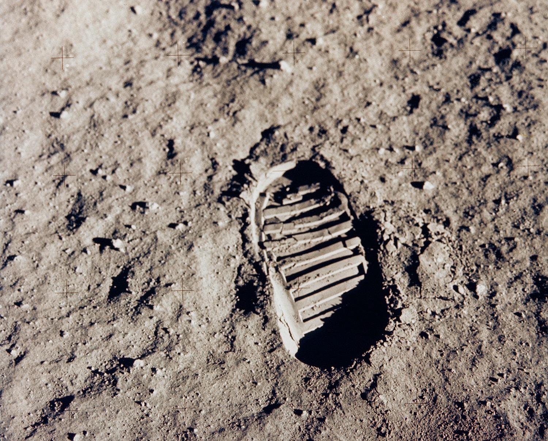 A icónica pegada de Edwin Aldrin na superfície lunar. /Crédito: NASA
