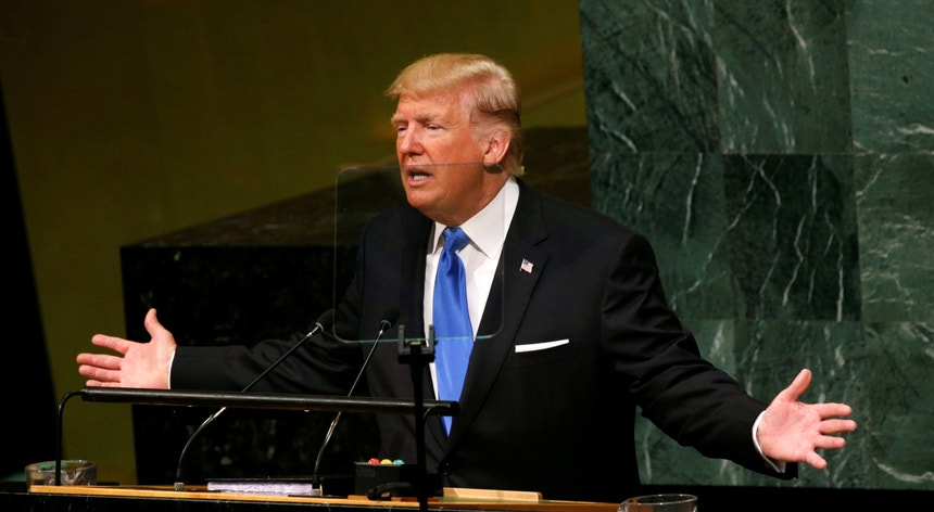 Donald Trump, Presidente dos Estados Unidos, no seu primeiro discurso perante a Assembleia Geral da ONU