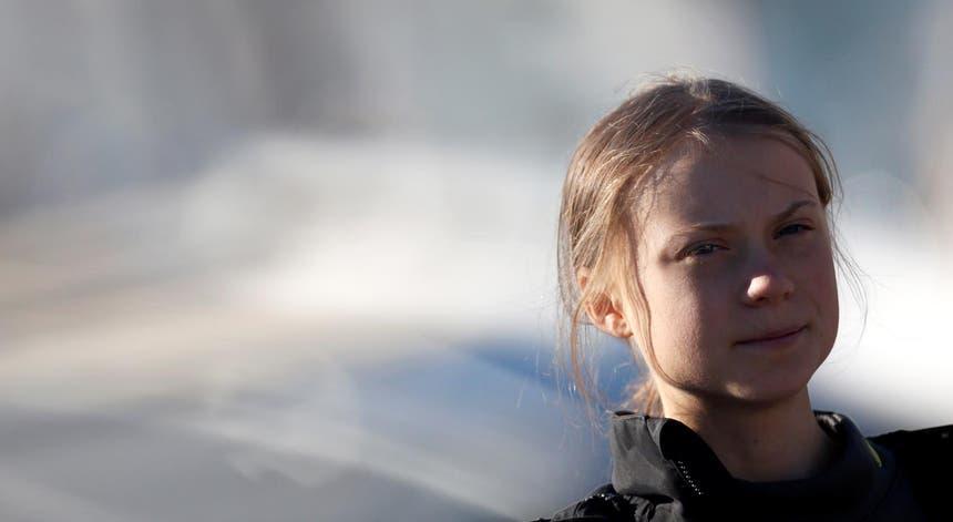 Greta Thunberg na chegada a Lisboa esta terça-feira.