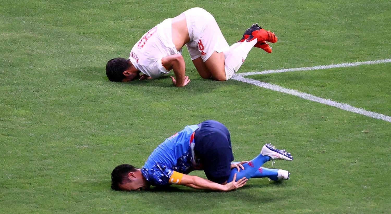 Jogo de futebol entre Espanha e Japão que gerou grande penalidade, posteriormente anulada.   Foto: Kim Hong-Ji - VAR Reuters
