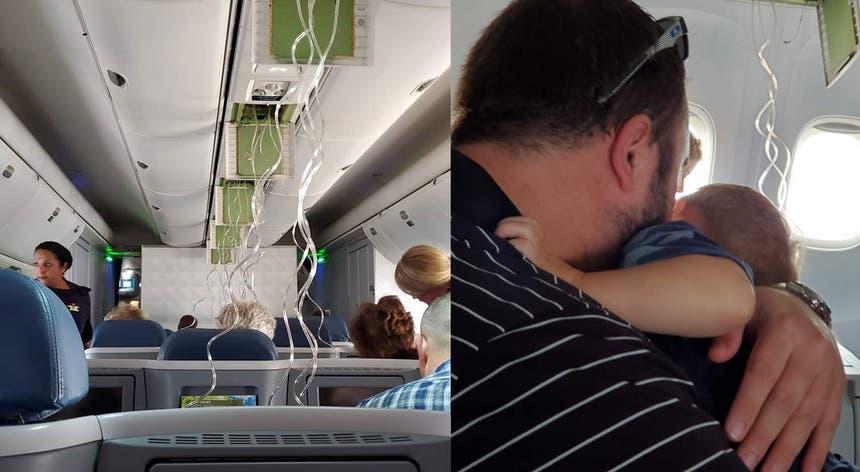 Momentos de pânico a bordo do avião