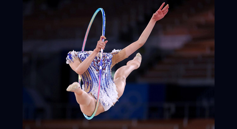 Durante a qualificação, de ginástica rítmica Individual All-Around, da atleta japonesa Chisaki Oiwa.   Foto: Lindsey Wasson - Reuters