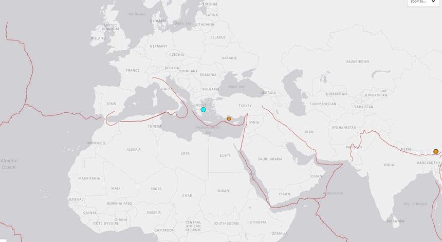 Imagem do ponto onde foi registado o epicentro do sismo