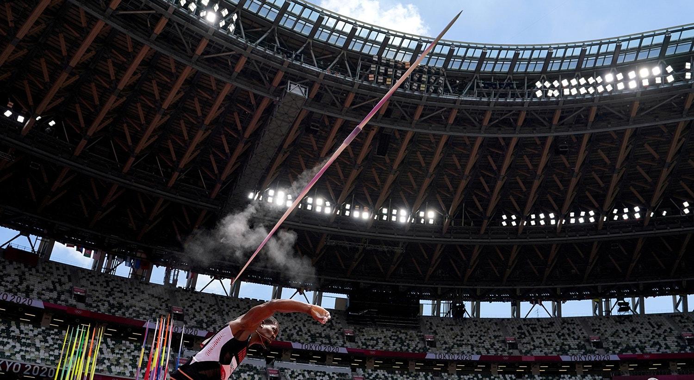 Qualificação de lançamento de dardo. Atleta Keshorn Walcott de Trinidad e Tobago.   Foto: Aleksandra Szmigiel - Reuters