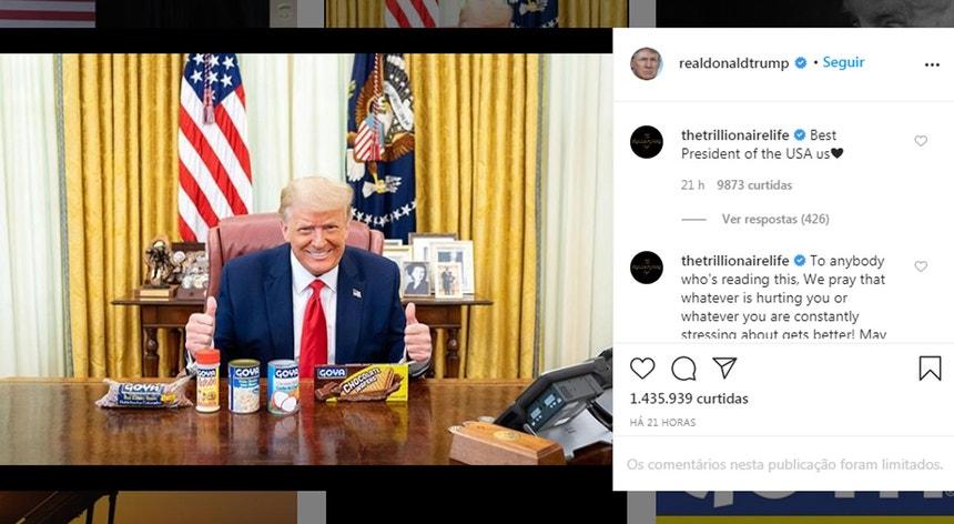 Imagem retirada do Instagram de Donald Trump