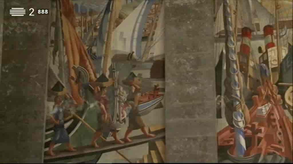 Pintura de Almada Negreiros nas Gares Marítimas de Alcântara e da Rocha Conde de Óbidos